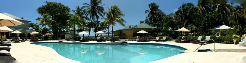 Panoramic shot of the pool at Bequia Beach Hotel showing a bright turquoise pool, cream stone surround, padded sun loungers shaded by cream parasols and palm trees in the background.