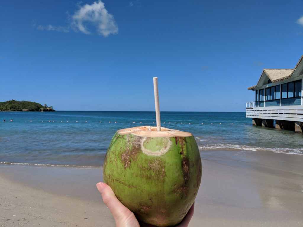 A green coconut which has been chopped to make way for a paper drinking straw being held out for the photo and with the background or darker sand, deep blue sea and Kelly's at Sandals Halcyon St Lucia reaching out to sea to the right.